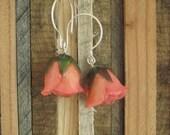 RESERVE Baby Rose Buds - Real Flower Earrings- sweet romantic pink flowers, wedding party, bridal, love, flowers, floral, ooak, organic