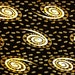 African Fabric 1/2 Yard Cotton BLACK IVORY Golden BROWN Abstract Spirals