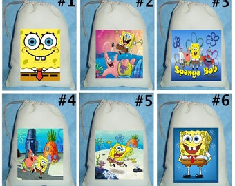 12 Sponge Bob Square Pants  Birthday Party Favor Candy Loot Treat Drawstring Bags
