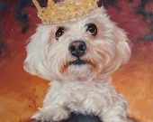"Original Art oil painting, custom Pet Portrait paintings in oils by puci, 10x12 inches, ""Master of His Domain"""