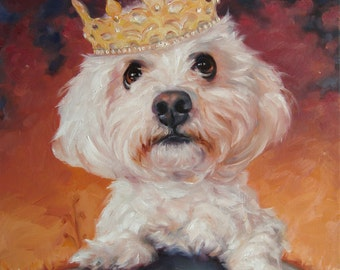 A Total Eclipse, Original Art oil painting, custom Pet Portrait paintings in oils by puci, 10x2 inches