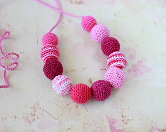 Pink Teething necklace Nursing Breastfeeding necklace Girls Jewelry Fashion accessory Ready to ship!