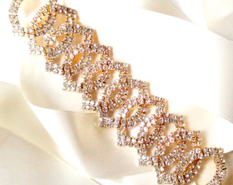 Rose Gold Wedding Dress Sash - Rhinestone Encrusted Bridal Belt Sash - Crystal Wide Wedding Belt - Pink Gold Belt