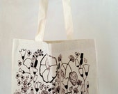 Organic Cotton Tote Bag, Black Eco Fabric Print, Poppies Shopper Bag, Gift for Mother's, Gift for Teen Girls, Fair Trade Canvas Tote Shopper