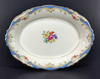 Vintage Oval Serving Platter, Cream w/ Gold Trim, Gorgeous Turquoise Blue and Colorful Flower Embellishments, Federal Shape, Syracuse China