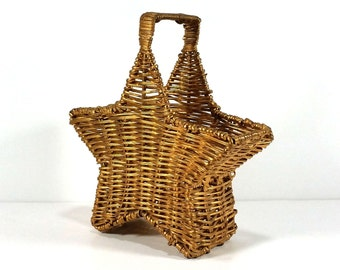 Vintage Wicker and Wire Star Basket - Burnished Gold