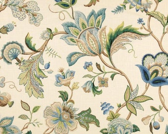 Blue Green Curtains, Blue Floral Curtains, Traditional Window Curtains, Blue  Home Decor,