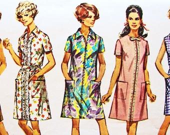 Simplicity Vintage 1960s Dress Pattern Misses Half size 20.5 Bust 43 A-line Dress Tie Belt Vintage Sewing Pattern
