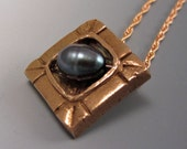 Unisex Bronze Black Pearl Pendant Necklace Golden Gold OOAK Unique Men Women