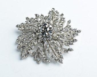 Crystal Brooch,50mm Floral Brooch/Pendant, Black Diamond & Hematite, G353.97