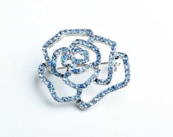 35mm Small Rose Pin, Crystal/Crystal AB EA   B4088.32