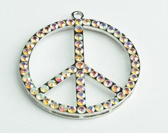 "Crystal Peace Sign Pendants  , 2"" , glass crystal 5 colors, 1 Each G2046"