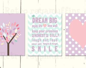 Little Bird Dream Big Lilac Nursery Art  Print Various Sizes Girls Room Decor