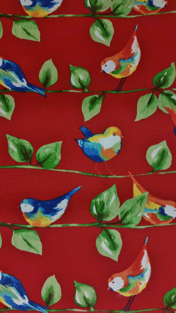Home Decor Fabric Feathered Friends Berry Red Solarium Outdoor Fabric Blue Birds Leaves Branches Excellent Fabric Creative Genius Projects From