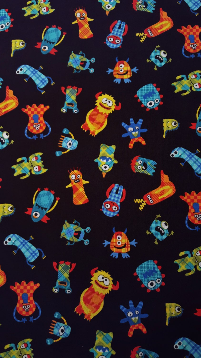 Cotton fabric monster plaid black patterned monsters for Bright childrens fabric