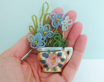 Tiny French Beaded Flower Bouquet in a Miniature Japan Porcelain Lusterware Creamer Pitcher, Peach & Blue with a Hand Painted Pink Rose