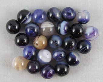 Purple Striped Agate 8mm Round Beads - 24 pieces #Q7