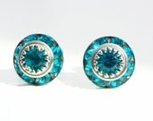 Teal Crystal Post Earring - Vintage - created with SWAROVSKI® Crystals