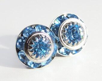 Aquamarine crystal stud earrings - designed with Vintage Swarovski crystals - March Birthstone - aquamarine earrings - aquamarine studs