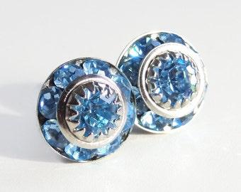 Aquamarine Light Blue Post Earrings - designed with Vintage Swarovski® crystals - March Birthstone - aquamarine earrings - aquamarine studs