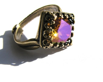 SALE, Swarovski Crystal Solitaire Ring, Amber Purple Rivoli Ring, Fancy Antiqued Brass Ring, Gift For Her, Ready To Ship