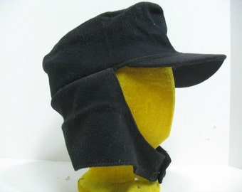 Vintage Hunters Field Flap Cap Ear Flaps Button at Neck ca: 1920s Hat