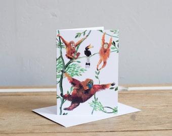 Swinging Orangutans Greetings Card