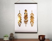 "18x24"" Gold Foil Self Hung Wall Print - Geo Feathers // Balsa Wood Hung Gold Foil Leaf Poster // Rustically Weathered Gold Leaf"