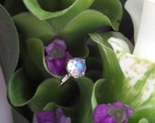 Venus Lotus Ring, Rose Cut Gem Quality Blue Sheen Moonstone in Sterling Silver, Engagement or Right Hand Ring (Handforged, Made to Order)
