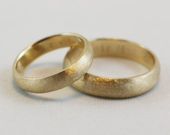 Satin Finish Wedding Band -14 kt Yellow Gold - 4 mm width/1.5 mm thickness - Beautiful Satin Finish - Custom Engraving Inside