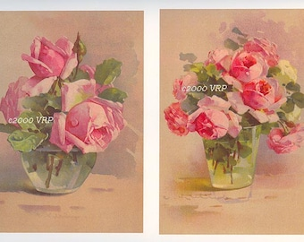 Three Catherine Klein Pink Cabbage Roses Vase, Art Print, Shabby Chic Decor, Vintage Art