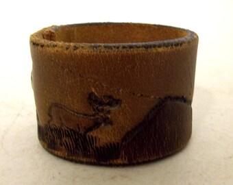 Deer Mountains Upcyled leather Cuff  western bracelet unisex country boho