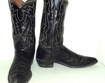 Rockabilly Black Leather Cowboy boots Justin brand size 11 B narrow width western wear