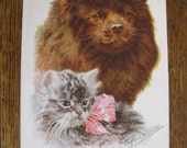 SALE !!! Antique Postcard. From my album Cats and Kittens. Eugenie. M. Valter 1910 era