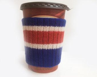 New York Rangers Hand Knit Coffee Cup Cozy Mug Sleeve