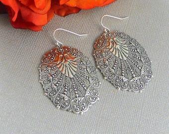 Sale Silver Earrings,Antique,Vintage Style,Wedding,Bride,Antique Earrings,Boho,Gypsy, Hamsa,Boho Earring,Hoop Earring