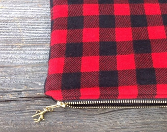 Deer Clutch, Buffalo Plaid Clutch, Holiday Bag, Rustic Handbag, Gifts for Her, Gifts Under 25, Metallic Gold Deer Purse, Holiday Gift