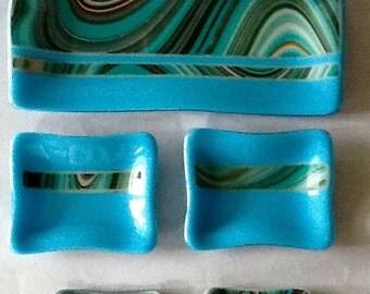 Turquoise Blue Fused Glass Sushi Set