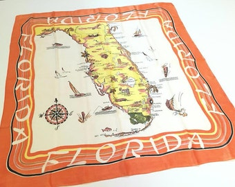 Vintage Florida silk scarf Symphony metal tag Miami 1950s Floridiana souvenir kitsch orange yellow