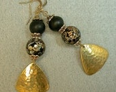 Vintage Japanese Tensha Dangle Drop Black iridesecent Bead Earrings , Vintage Black Crystal Beads,Gold Plated Dangles