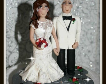 Traditional Bride & Groom, Wedding Cake Topper, Personalized