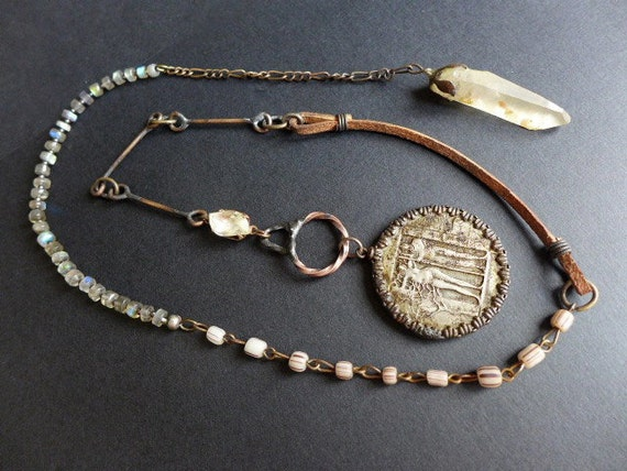 Everyone You'll Ever Meet. Rustic coin and crystal lariat with labradorite.