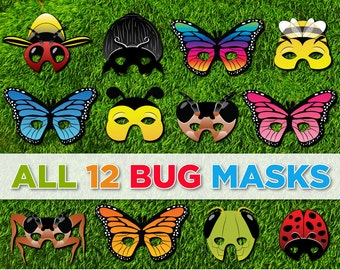 Bug and Insect Printable Masks - 12 Mask Set