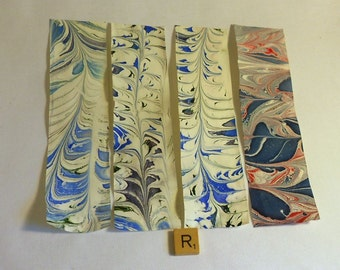Scrapbooking Paper- Hand Marbled with Blue, Green, and Purple Made in Asheville NC MM-R-1