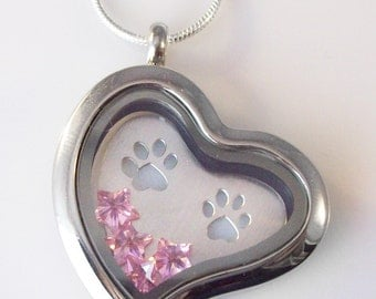"""Love My Cat or Dog Stainless Steel Living Locket - 30mm w/ 22"""" Silver Plated Snake Chain, Paw Print Plate, Crystals, Paw Print Packaging"""