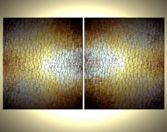 Original Painting By Dan Lafferty - Gold Metallic Abstract Bronze Modern Textured Art - PATH OF GOLD - 36 x 72