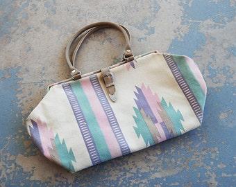 vintage 1980s Purse - 80s Pastel Southwestern Doctors Bag - Boho Tapestry Bag Handbag