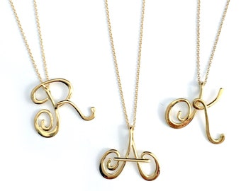 Small Calligraphy Initial Necklace in 14k Gold-plated Sterling Silver