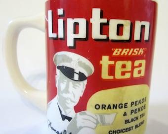 Vintage LIPTON TEA USA Restaurant Ware Diner Coffee Tea Cup Mug Orange Pekoe Black