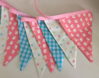 """Child's  bunting, fabric garland, 12 flags long, 2.5m or 98"""" elephant fabric, baby shower, nursery, 1st birthday party, bedroom, parties."""